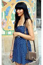 brown Zara Woman bag - blue polka dot Zara Trafaluc dress