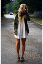 green H&M jacket - white Vero Moda dress - brown Bianco clogs
