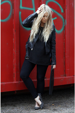 black Dr Denim jeans - black Topshop jacket - black modekungense bag