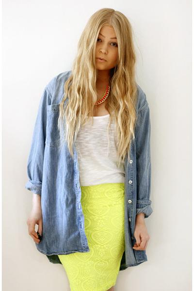 light yellow neon lace asoscom skirt - sky blue denim Monki shirt