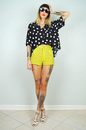 black noirohio vintage blouse - chartreuse noirohio vintage shorts