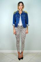 blue wrangler jean noirohio vintage jacket - beige leopard skinny Topshop jeans