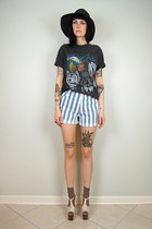 black noirohio vintage shirt - light blue denim striped noirohio vintage shorts
