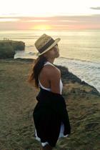 beige  hat - white lauren moshi dress - black Gap cardigan - black Gap shoes