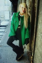 chartreuse Zara coat - black unknown brand boots - black H&M leggings - off whit