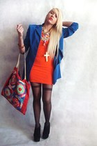 carrot orange bandage vintage dress - blue vintage blazer