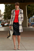 black faux leather Zara skirt - ivory plaid H&M coat