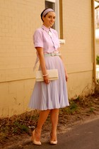 violet pleated sheer asos skirt - ivory River Island bag
