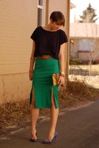green Hugo Boss skirt - navy loose crop top Topshop shirt