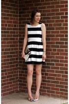 crimson striped Forever 21 dress - neutral cap toe Zara heels