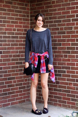 dark gray Forever 21 shirt - red plaid Forever 21 shirt - black denim H&M skirt
