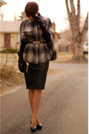plaid shirt Forever 21 cape - faux leather Zara skirt - H&amp;M top