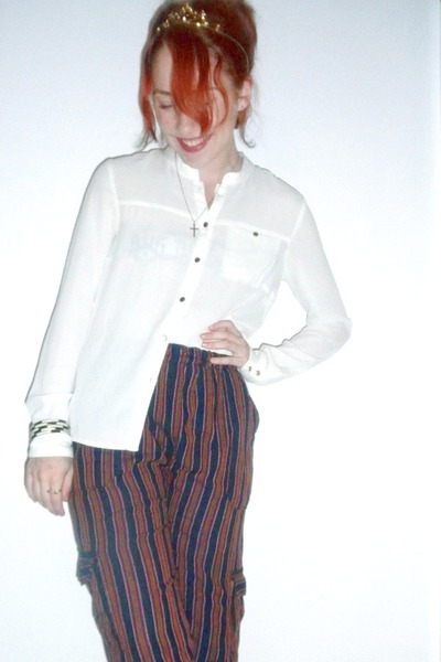 Zara shirt - tiara gifted accessories - Ecuadorian Market pants