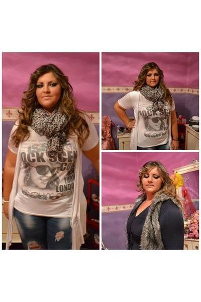 Promod vest - Stradivarius jeans - Bershka scarf - Promod cardigan