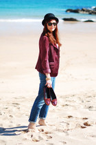 black asos hat - blue La Redoute jeans - ruby red Dorothy Perkins blazer