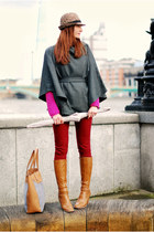 charcoal gray fuse fashion cape - bronze Freemans boots - brick red asos jeans