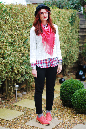 black asos hat - white FF sweater - ruby red new look shirt - salmon scarf