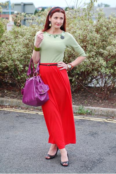 orange River Island skirt - green whistles sweater - purple new look bag