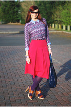 amethyst asos sweater - light blue M&S shirt - navy jasper conran bag