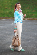 bubble gum asos scarf - light blue M&S shirt - beige karen millen bag