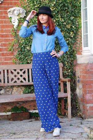 black bowler asos hat - light blue denim Topshop shirt - blue Oasis pants