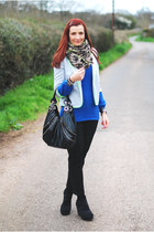 black Debenhams bag - blue Debenhams sweater - silver asos blazer