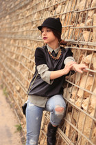 black Zara hat - sky blue pull&bear jeans - black Zara sweater