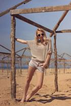 beige Vero Moda shirt - Mango shorts - eggshell H&M sunglasses