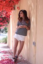 white H&M skirt - black Stradivarius heels - black Topshop top