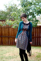 black floral print dress - teal Mossimo cardigan