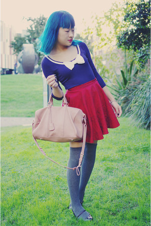light pink bag - charcoal gray socks - deep purple Mossimo flats - ruby red hand