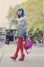 Burnt-orange-pamela-mann-tights-magenta-marc-by-marc-jacobs-bag-forest-green
