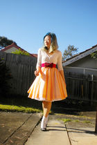 orange vintage dress - silver new look shoes - white Foxy cardigan - red belt