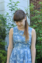 oxford thrifted shoes - denim floral Dorothy Perkins dress