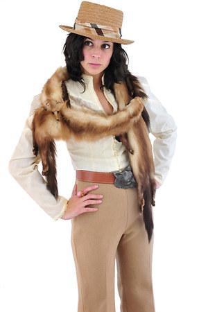 camel grandfathers vintage hat - camel vintage pants - ivory vintage blouse - br