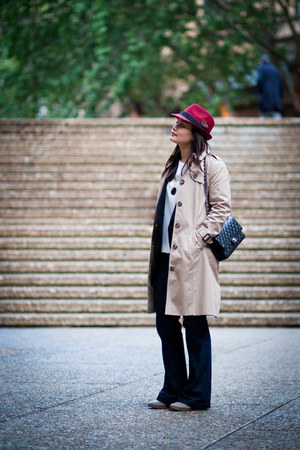 ruby red Dotti hat - navy Gap jeans - beige Sportscraft jacket