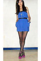 blue Forever 21 dress - pink shoes - black from Korea stockings - silver random