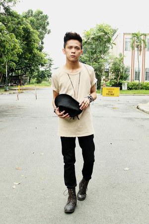 black jeans H&M jeans - dark brown boots Forever21 boots - black fedora Zara hat