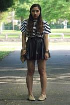 white cropped H&M t-shirt - black pleather TJ Maxx skirt
