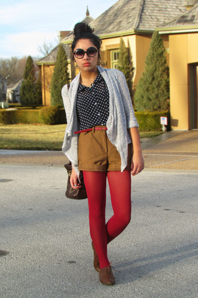 ruby red Express tights - bronze H&M shorts - navy TJ Maxx top