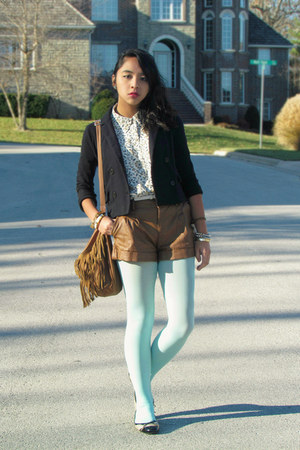 black Forever 21 blazer - aquamarine Forever 21 tights