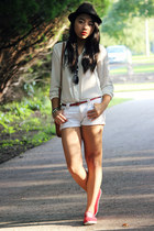 white H&M shirt - ruby red Keds sneakers