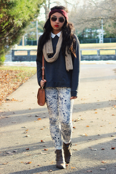 blue pattern H&M pants - dark brown Forever 21 boots - camel vintage scarf