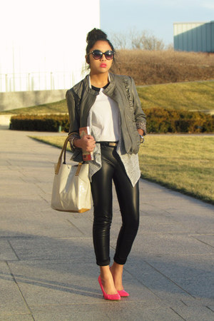 heather gray leather TJ Maxx jacket - white H&amp;M shirt