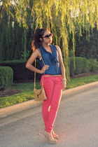 hot pink jeans - nude clutch bag - nude Charlotte Russe heels