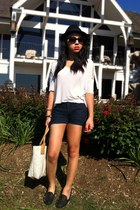 black fedora Forever 21 hat - navy Express shorts - off white TJ Maxx top