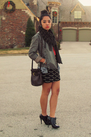 heather gray leather TJ Maxx jacket - dark gray unknown scarf