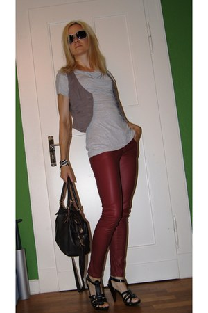 maroon pants - heather gray Pimkie shirt - charcoal gray Esprit vest