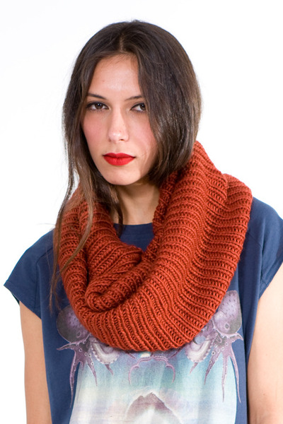 burnt orange tube knit scarf scarf