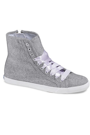 silver wool hi tops Keds shoes